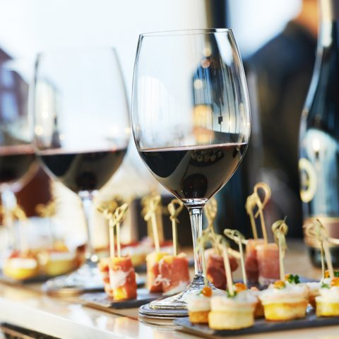glasses and food for italian catering services