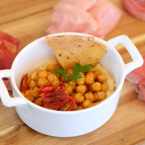 Image of Italian chickpeas and meze platter.